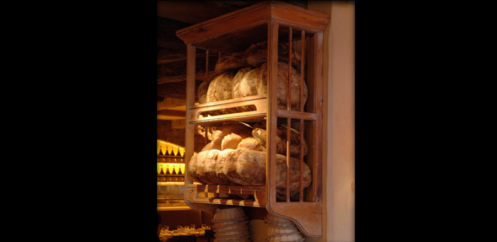 Handmade wood bread rack
